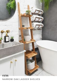 A narrow version of our best-selling Ladder Shelves made from 100 solid oak, these value-for-money shelves lean against the wall and can be easily moved around whenever you fancy a change. Upstairs Bathrooms, Small Bathroom, Bamboo Bathroom, Space Furniture, Furniture For Small Spaces, Bathroom Interior Design, Home Interior, Shower Storage, Bathroom Organisation