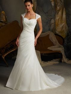 Organza Sweetheart Neckline Mermaid Wedding Dress with Lace Cap Sleeves $240