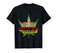 420 Jamaica Rasta Weed Cannabis Stoner Rastafari T-Shirt Weed Shop, Rasta Colors, Stoner, Jamaica, Cannabis, Holidays, Humor, Sleeve, Classic