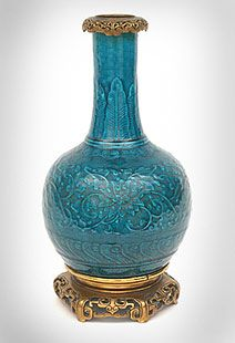 """Chinese Form """"Bleu Deck"""" Lamp Possibly designed by Emile Reiber (1826-1893) Manufactured by Theodore Deck [signed] (1823-1891). Mounts probably by Ferdinand Barbedienne (1810-1892). c. 1865-70"""