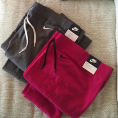 "Nike Club sweats bundle Nike club sweats- full length but can be pulled up, drawstring waist, thin & ""tighter"" style with a soft fleece interior. Both new with tags! Nike Pants Track Pants & Joggers"