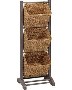 Kitchen Pantry Cabinets Kirkland's Gray Magazine Basket Tower from Kirkland's Home Kitchen Counter Storage, Storage Cabinet With Baskets, Kitchen Pantry Cabinets, Basket Shelves, Wood Shelves, Kitchen Organization, Shoe Cubby, Shoe Storage, Craft Storage