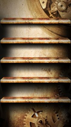 !!TAP AND GET THE FREE APP! Shelves Unicolor Gears Brown Homescreens HD iPhone 5 Wallpaper