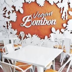 Cardboard logo installed in the sand in an amazing mural at vegan bakery Vegan Bombon. Designed by Cartonlab. Luxury Furniture Brands, Furniture Logo, Diy Furniture Plans, Cheap Furniture, Discount Furniture, Rustic Furniture, Home Furniture, Bakery Shop Design, Restaurant Logo Design