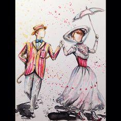 Bert and Mary Poppins. Disney Fan Art, Disney Love, Disney Magic, Disney Stuff, Disney And Dreamworks, Disney Pixar, Walt Disney, Mary Poppins And Bert, Disney Drawings