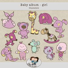 SoMa Design: Baby album - Girl - Characters Baby Album, Girls Characters, Baby Design, Digital Scrapbooking, Comics, Kit, Baby Scrapbook, Comic Book, Comic Books