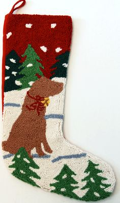 "Alpine Yellow Labrador Retriever Lab Dog Hooked Christmas Stocking - 13"" x 21"""