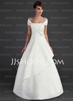 Wedding Dresses - $136.99 - A-Line/Princess Strapless Floor-Length Satin Wedding Dresses With Ruffle Beadwork Flower(s) Sequins (002015669) http://jjshouse.com/A-Line-Princess-Strapless-Floor-Length-Satin-Wedding-Dresses-With-Ruffle-Beadwork-Flower-S-Sequins-002015669-g15669