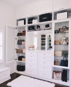 """""""We recently installed a custom-built closet (chandelier coming soon! I love the crystal drawer knobs and the all-white shelves. Walk In Closet Design, Closet Designs, Wardrobe Room, Closet Bedroom, Diy Bedroom, Bedroom Ideas, Wardrobe Storage, Walk In Wardrobe, Trendy Bedroom"""