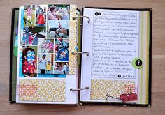 Great idea for a place to write about the day and a place for collage of photos