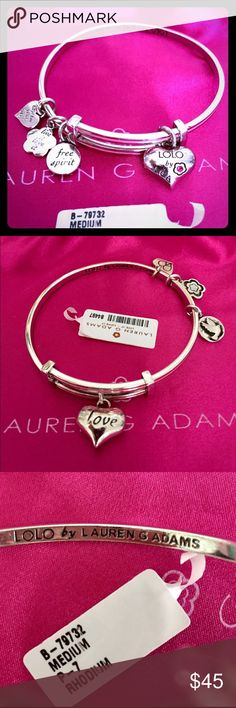 """Lauren G Adams LOLO Pink """"LOVE"""" Adjustable Bangle Authentic Lauren G Adams LOLO """"LOVE"""" Pink Enamel & Rhodium (will not turn color) Adjustable, SIZE MEDIUM, BANGLE Bracelet. It's NWT, never worn! The double-sided, puffed Heart Charm has a dark pink SWAROVSKI crystal with """"LOLO by LGA"""" & the other side has the word """"Love"""" on it. The Heart is 22mm.  The other 3 charms are double-sided (see pics) & say: Free Spirit--dove, Live it Love It--flower, & Express yourself--heart. Comes in LGA SATIN…"""