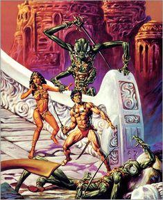 John Carter of Mars - Joe Jusko Dark Fantasy Art, Fantasy Artwork, Pulp Fiction Art, Pulp Art, Science Fiction, John Carter Of Mars, Sci Fi Comics, Sword And Sorcery, Fantasy Warrior
