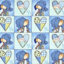 Holly Hobbie Blue Girl Stitched Squares - Blue