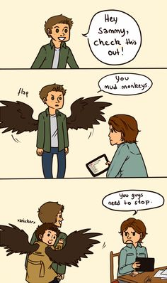 Supernatural fanart for destiel. This is a really cute, playful, and happy side for them for once.