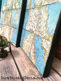 Map Collage, Art Collages, Map Crafts, Back To School Crafts, World Map Art, Map Globe, Creation Deco, Vintage Maps, Hanging Wall Art