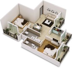 Creative two bedroom apartment plans ideas 33 2 Bedroom Apartment Floor Plan, Two Bedroom House, Apartment Layout, Apartment Plans, Two Bedroom Apartments, Apartment Design, Free House Plans, House Floor Plans, Home Building Design
