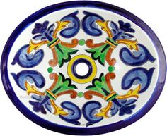Handmade oval made of talavera sinks from Mexico are Rustica House best seller. They are perfect for undermount and drop-in decorative bathroom counter installation. Rustic Bathroom Sinks, Small Bathroom, Washroom, Small Sink, Bathroom Pictures, Bathroom Ideas, Mexican Designs, Ceramic Sink