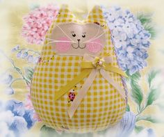 Yellow Cat  Doll 6 Free Standing Kitty by CharlotteStyle on Etsy, $15.00