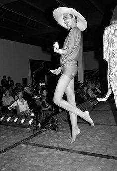 #halston Halstonette Pat Cleveland amusing clients at one of Halston's runway shows.