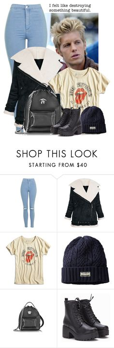 """""""say it with a heartbeat."""" by sticthen on Polyvore featuring Topshop, Lucky Brand, Scotch & Soda, Versace, Mynovel, ScotlandGirl and mattbarr"""