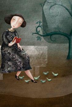 "El Puestu Flora (Evangeline Prieto)       illustration for ""Pájaros de la Tarde"""