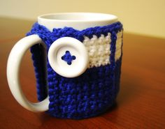 Crochet Tardis Mug Cozy - Doctor Who cup cozy