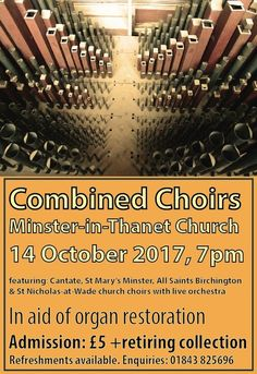 """Combined Choirs"" concert in Minster (Thanet) on 14 October 2017 - poster"