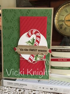 SU Candy Cane Season Cased from Teneale Williams Christmas Cards To Make, Christmas Candy, Christmas 2019, Holiday, Candy Canes, Stamping, Card Ideas, Catalog, Card Making