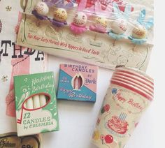 Everyday is a Holiday. Vintage birthday candles, cups and lots more. Retro Birthday Parties, Retro Party, Vintage Party, Vintage Gifts, It's Your Birthday, Happy Birthday, Birthday Stuff, Birthday Celebration, Birthday Wishes