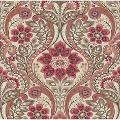Astoria Grand Watermelon, dusty rose, coral, red, and maroon are some of the colors to be found in this folk style damask. A grey background balances out the design. Geometric Wallpaper Murals, Paisley Wallpaper, Paisley Art, Embossed Wallpaper, Wallpaper Roll, Wall Wallpaper, Pattern Wallpaper, Paper Installation, Brewster Wallpaper