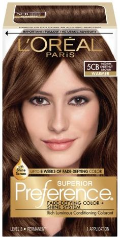 L'Oreal Paris Superior Preference Fade-Defying Color + Shine System, Medium Chestnut Brown, 1 Kit - All For Hair Color Trending Chesnut Brown Hair, Chestnut Brown Color, Light Brown Hair, Tintes Color Chocolate, Chocolate Brown, Haircut And Color, Permanent Hair Color, Hair Brained, L'oréal Paris