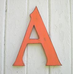 """Wooden serif Letter """"A"""" Big Shabby Chic sign 12 inch Kids Wall Art Sign Orange Letter signs Rustic Nursery Letters Wall Letters"""