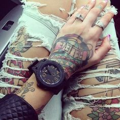 fashion, girl, inked, style, tattoo, ink, Tattoos, watch