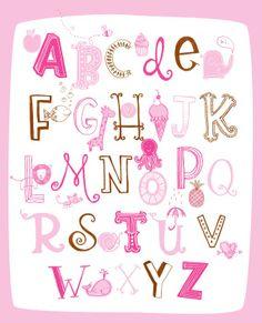 Illustrated Alphabet $22 #alphabet #learn #teach #pink #brown #nursery #decor #baby #kid #teacher #whale #snail #heart #lion #mouse #octopus #icecream #fish #giraffe #elephant #cupcake #bee #apple #girl