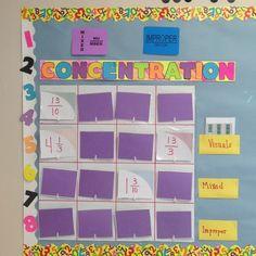Mixed number/improper fraction Concentration bulletin board game.