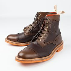 Trickers two parttwo tone brogue boots Coffee burnished and Espresso scotch grain leather