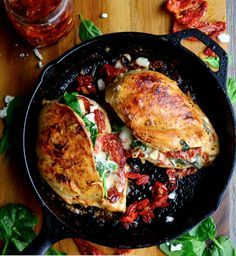 This Sundried Tomato, Spinach, and Cheese Stuffed Chicken is made from just 5 ingredients and can be cooked in a skillet or baked in the oven. It's a quick and easy family dinner. Drop into The WHOot for more delicious recipes.