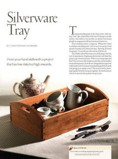 Hone your hand-tool skills by experimenting with new methods to build this Shaker silverware tray – it's a project with low risks but high rewards. Woodworking Courses, Woodworking Supplies, Woodworking Techniques, Popular Woodworking, Woodworking Plans, Woodworking Projects, Storage Design, Tool Storage, Shooting Board