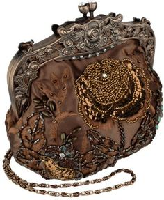 bronze beaded evening bag