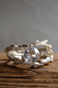 Clear White Topaz Double Twisted Branch Jewelry Elvish Twig Ring