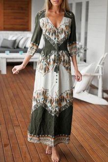 Feather Print 3/4 Sleeve Maxi Dress