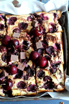 Cherry cream cheese brownies are filled with dark chocolate chunks, silky swirled cream cheese and studded with fresh bing cherries.
