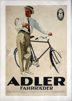 Plakat ADLER FAHRRÄDER Ludwig Hohlwein ORIGINAL 20er Jahre