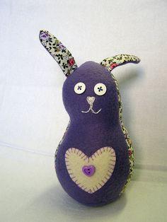 Handmade Bunny stuffed animal, Purple Fleece and floral cotton, soft and huggable by shusha64 @ etsy