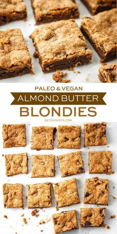 Paleo & Vegan Almond Butter Blondies, Desserts, My new FAVORITE dessert to share with friends! These paleo & vegan Almond Butter Blondies are super easy to prepare and taste better than a cookie fro. Paleo Vegan, Low Carb Paleo, Paleo Recipes, Whole Food Recipes, Dessert Recipes, Easy Paleo Desserts, Gluten Free Dairy Free Desserts, Easy Recipes, Paleo Desert Recipes