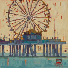 Pastel Ferris Wheel - Rene Wiley - 2014 - 12 x 12 by Rene' Wiley Gallery Oil ~  Love this artist style and colors!