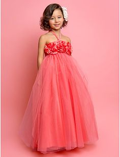 bir hat yular yere kadar uzanan tül çiçek kız elbisesi  $59.99
