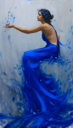 """June's Vivification"" portrait painting of a young women in a blue dress with blue flowers by artist Tim Rees"
