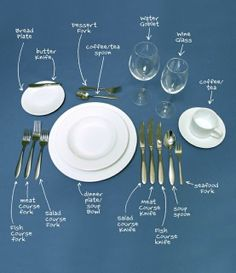 For your fancier fair, how to set the table.
