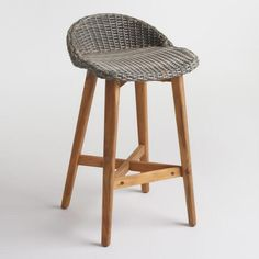 Gray Wicker and Wood Taormina Barstools Set of 2. Kitchen StoolsCounter ... & Pull up one of our gracefully flowing Sanders Wicker Barstools ... islam-shia.org